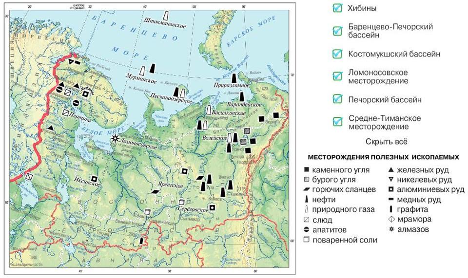 Месторождения полезных ископаемых Европейского севера России